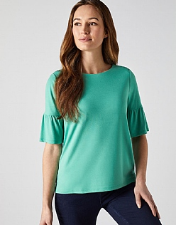 Jersey Bell Sleeve T-Shirt in Copper Green