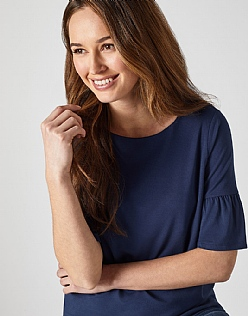 Jersey Bell Sleeve T-Shirt in Navy
