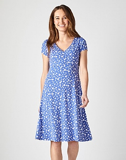 Jersey Tea Dress in Blue Daisy
