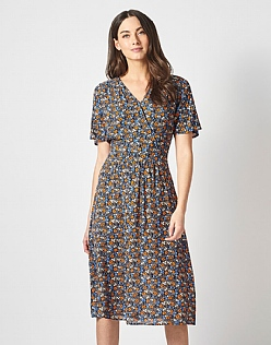 Fluted Sleeve Dress in Flowerbed