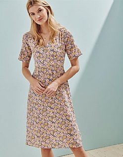 Fluted Sleeve Dress in Trellis Print