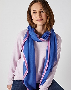 Contrast Edge Scarf in Blue
