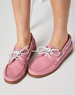 Leather Boat Shoe in Watermelon Pink