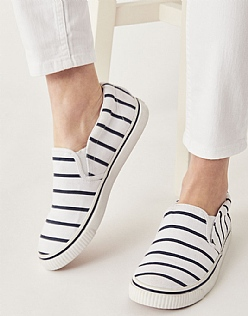 Canvas Slip on Trainer in White Stripe