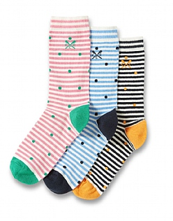 3 Pack Cotton Socks in Fine Stripe