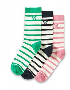 3 Pack Cotton Socks in Green Stripe