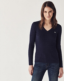 Heritage Cable V Neck Jumper In Navy
