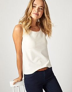 Chiffon Trim Vest In White